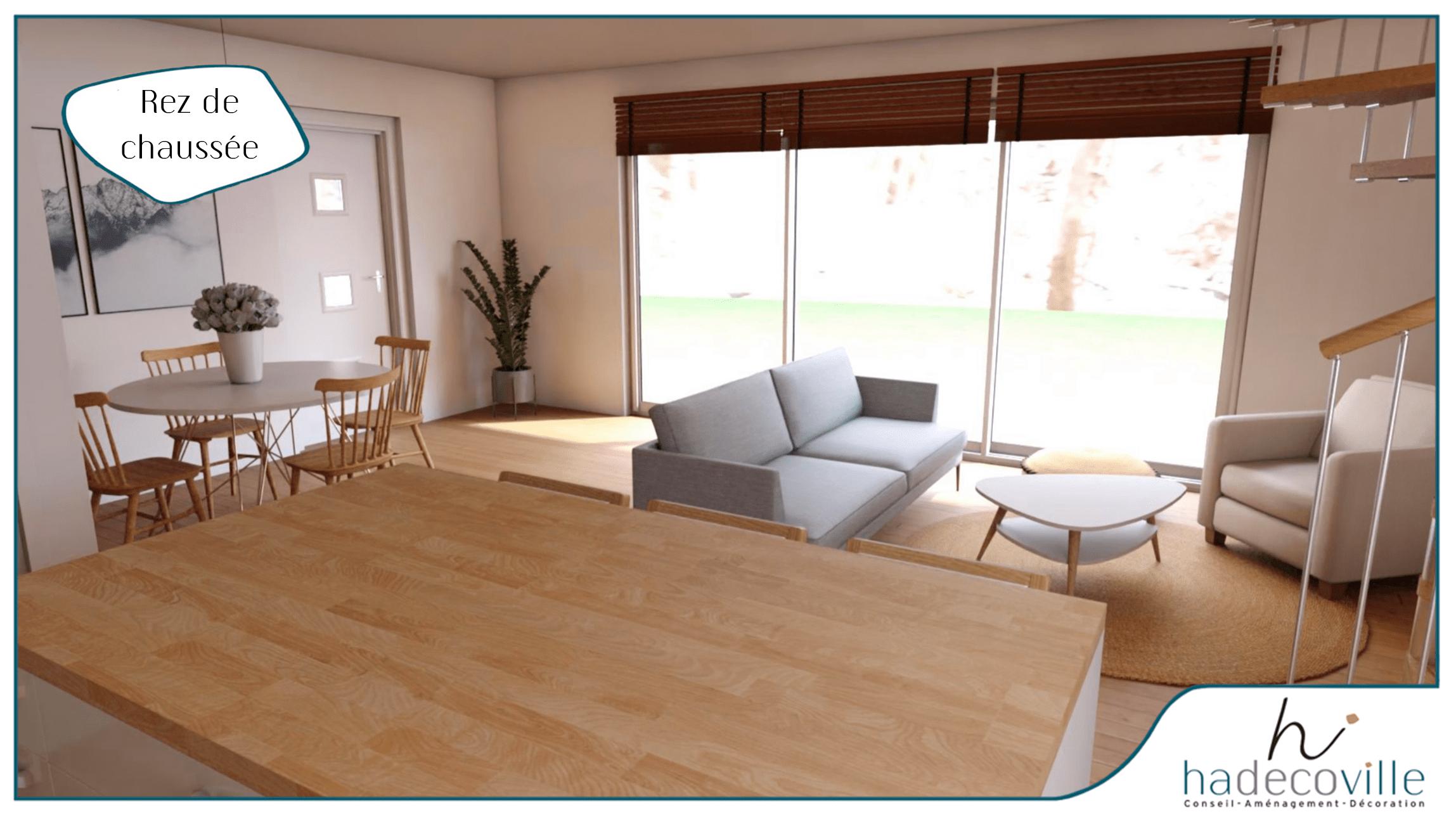 Salon avec grande baie vitré
