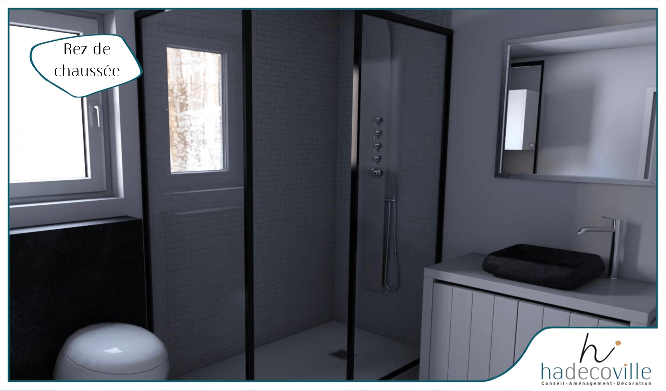 Sale de bain moderne noir et blanche