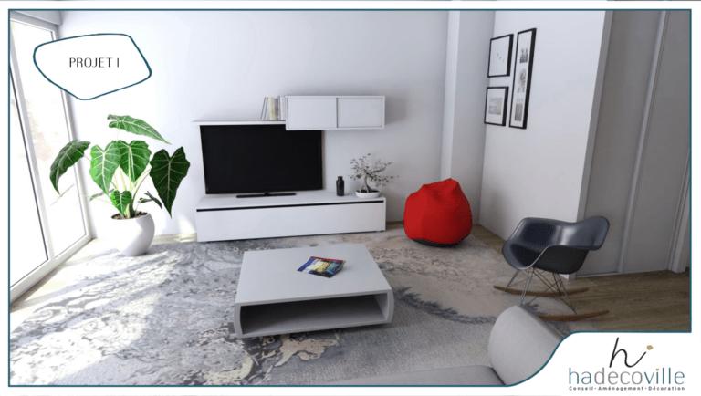 Salon avec meuble blanc laqué