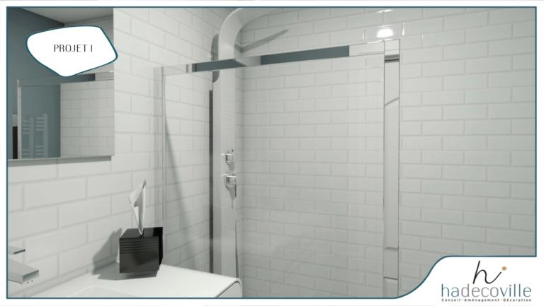 Salle de bain avec faïence en brique blanche