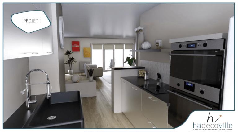 cuisine blanc laqué avec plan de travail noir